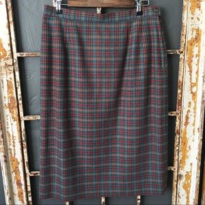 Pendleton Vintage Plaid 100% Wool Pencil Skirt